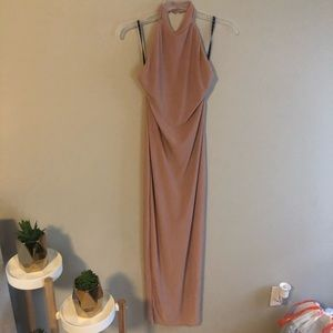 Misguided high neck/low back fitted maxi